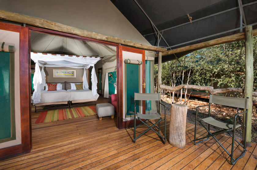 Ongava tented camp, Namibie, terrasse d'une tente