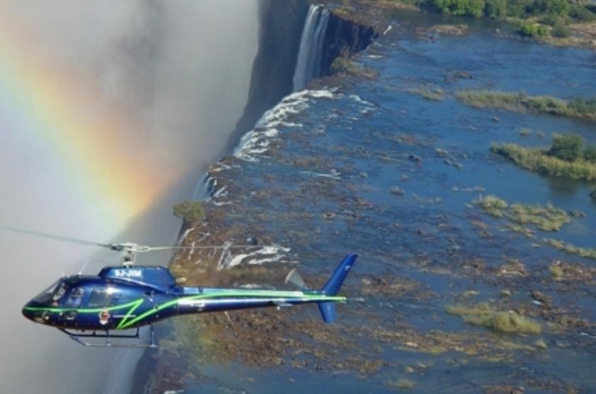 River Club, Livingstone, Zambie, survol en hélicoptère