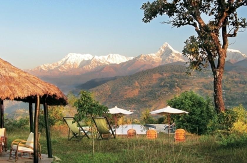 Tiger Mountain Pokhara Lodge, Népal, terrasse