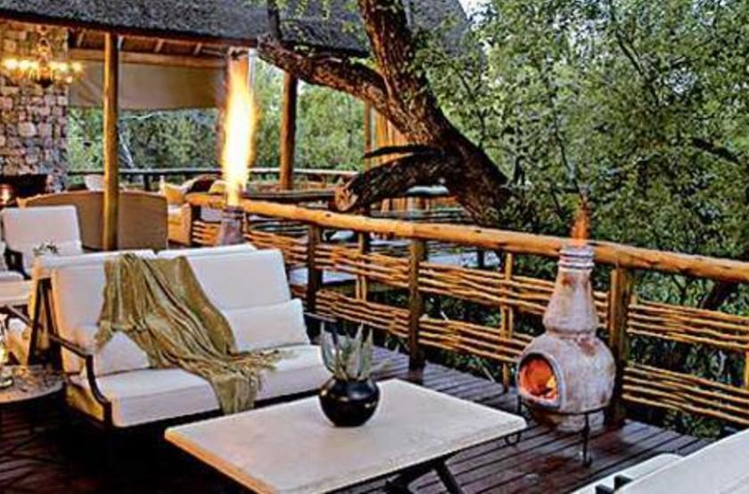 Thakadu River Camp, Réserve de Madikwe, Afrique du Sud, terrasse