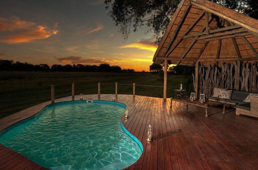 Chitabe Lediba Camp, delta de l'Okavango, piscine