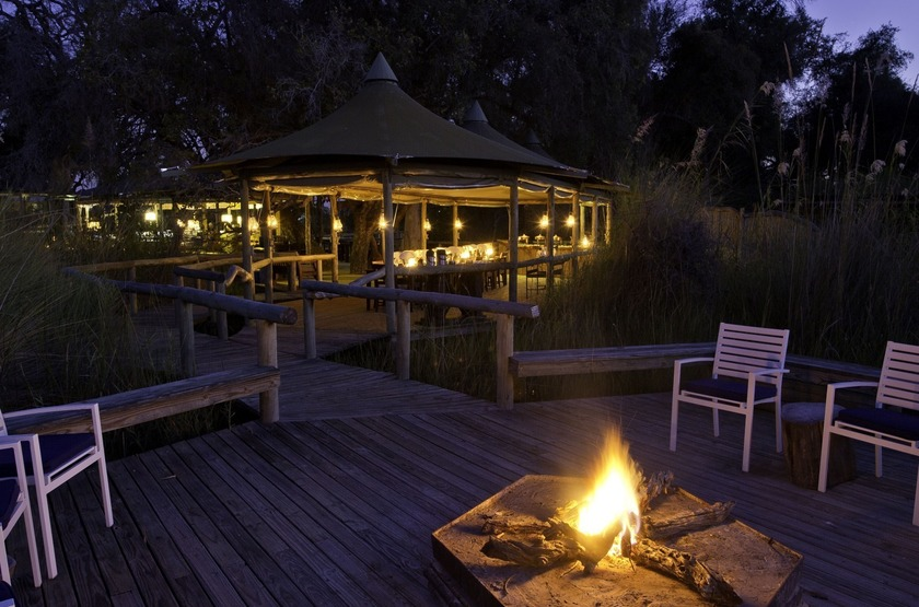 Little Vumbura, Okavango, Botswana, camp fire