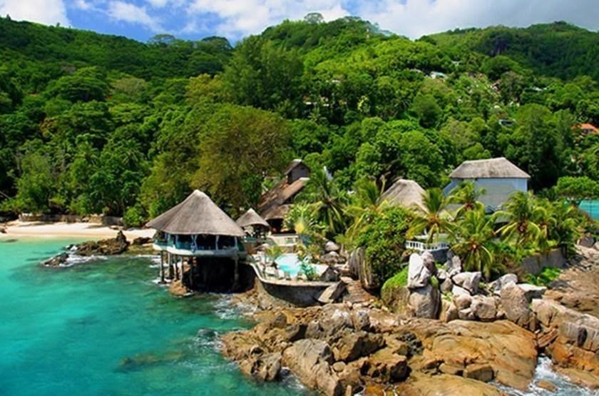 Sunset Beach, Mahé, Seychelles, vue d'ensemble