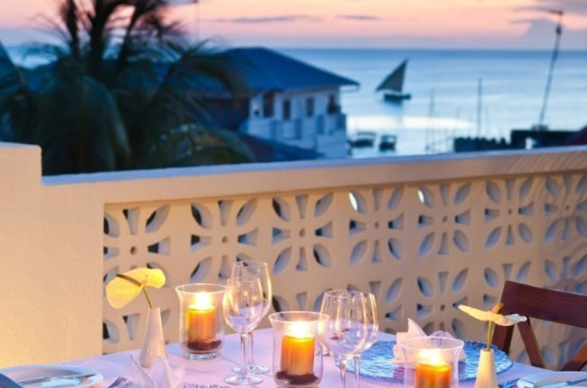 Kisiwa House, Stone Town, Zanzibar, restaurant vue mer