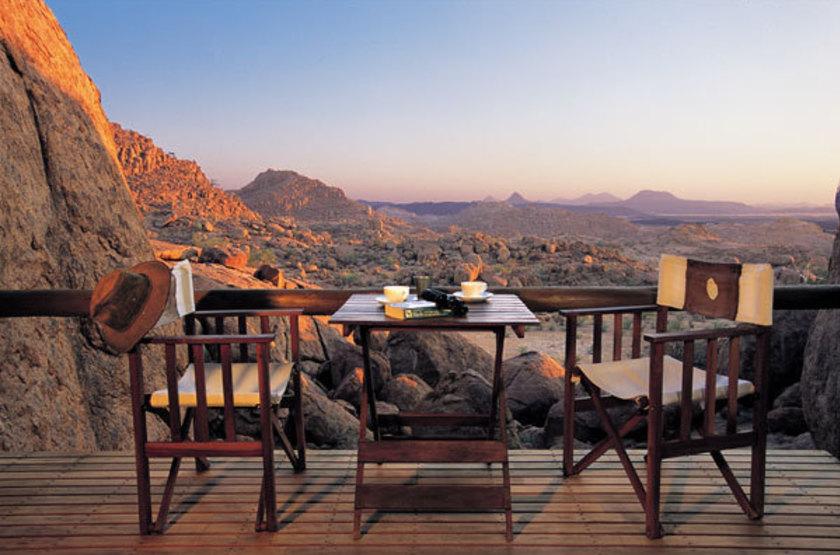 Mowani Mountain Camp - Damaraland, Namibie, terrasse