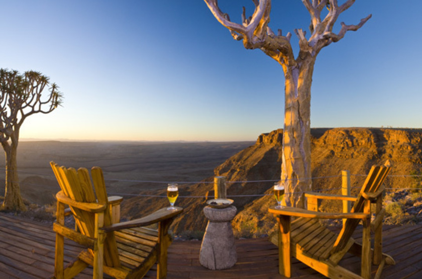 Fish River Lodge, Fish River Canyon, Namibie, terrasse avec vue
