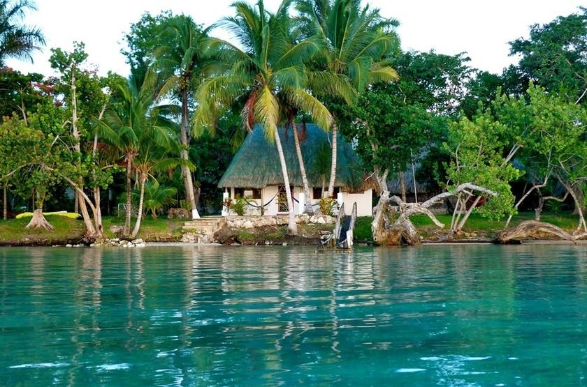 Rancho Encantado, Bacalar, Mexique, casitas lagon