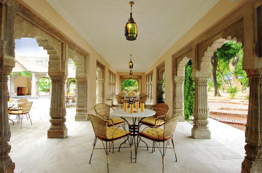Usha Kiran Palace, Gwalior, Inde, terrasse