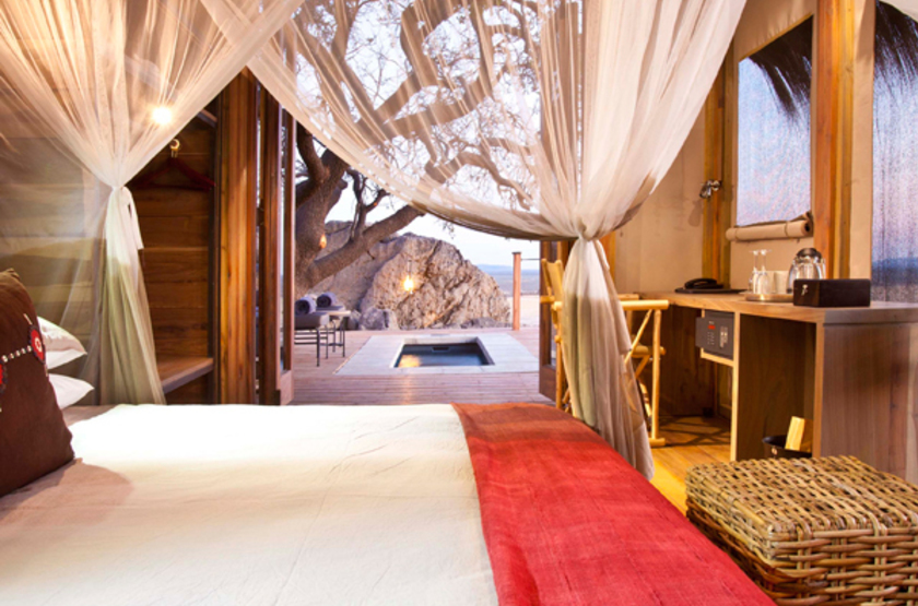 Dolomite Camp, Parc Etosha Ouest, Namibie, chambre