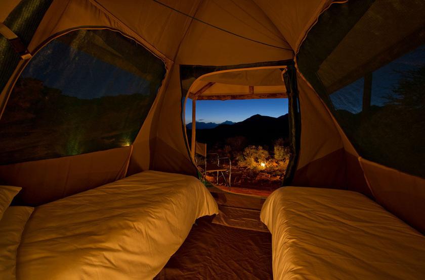 Kulala Adventurer Camp, Sossusvlei, Namibie, intérieur tente