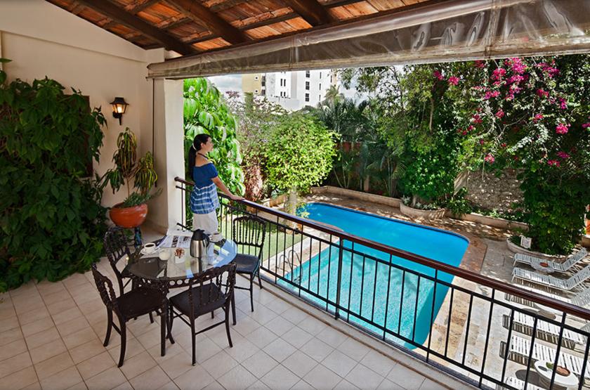 Casa Del Balam, Mérida, Mexique, terrasse vue piscine