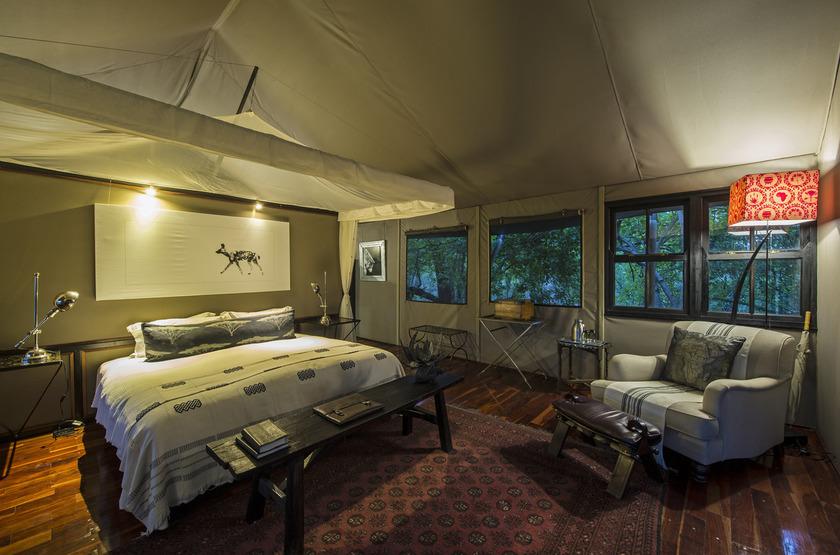 Chitabe Camp, delta de l'Okavango, Botswana, intérieur tente