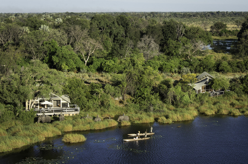 Abu Camp, Delta de l'Okavango, Botswana, vue aérienne