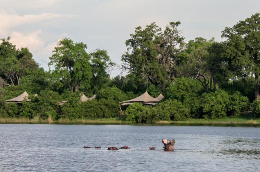 Duma Tau Camp, rivière de Savuti, Botswana, emplacement