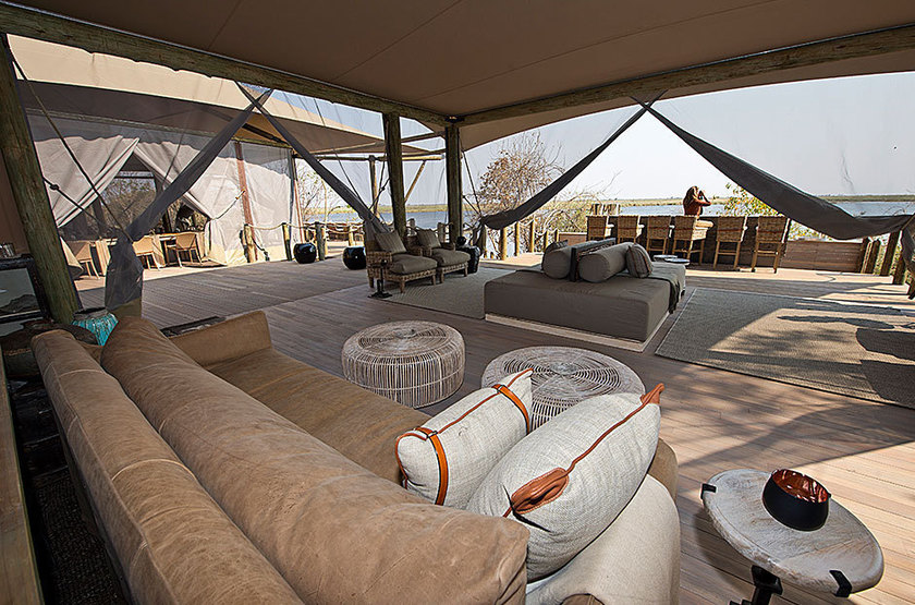 Duma Tau Camp, rivière de Savuti, Botswana, salon