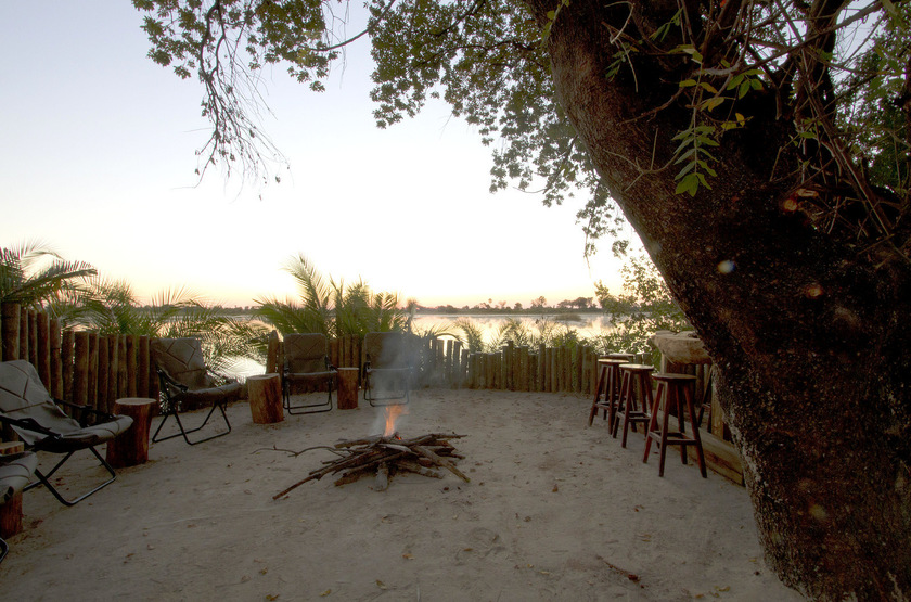 Pelo Camp, Jao concession, Okavango, Botswana, camp fire