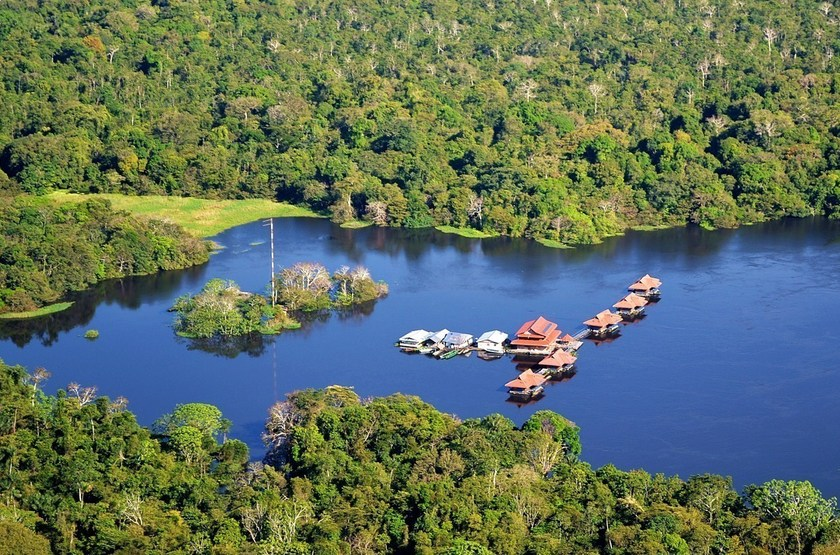 Uacari Lodge, Mamiraua, Brésil, vue aérienne
