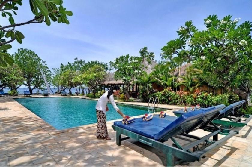 Taman Selini Beach Bungalows, Pemuteran, Bali, Indonésie, piscine