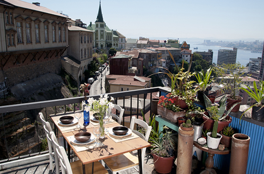 Fauna Hotel, Valparaiso, Chili, terrasse