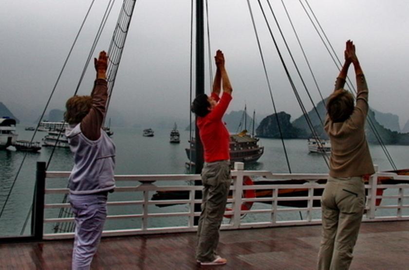 Jonque Image, Baie d'Halong, Vietnam, pont supérieur