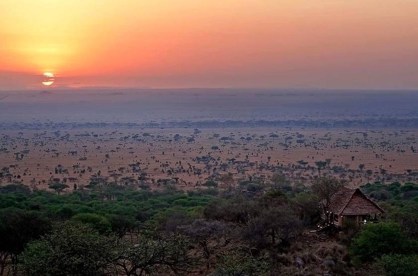 Pioneer Camp Serengeti, Tanzanie, sunset dans les plaines
