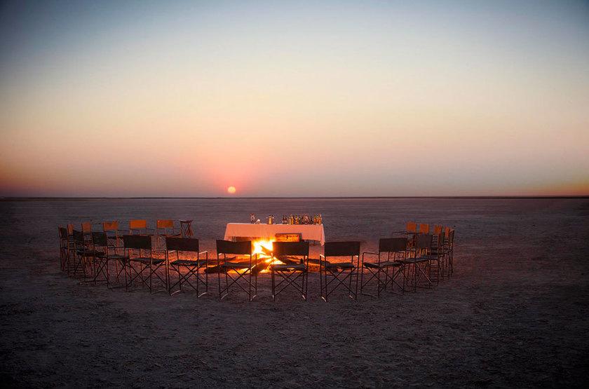 Jack's Camp, Pan du Makgadikgadi, Botswana, camp fire