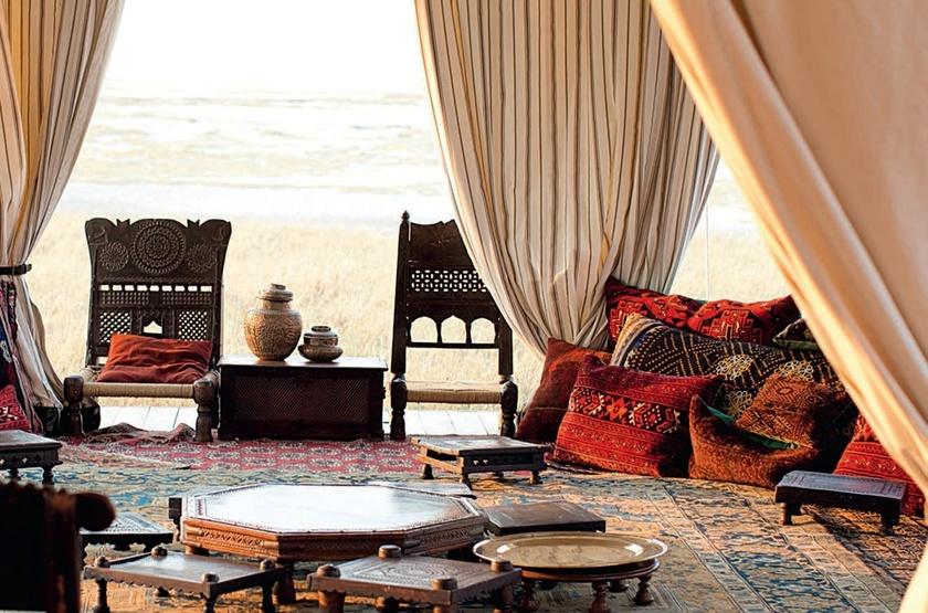 San Camp,  désert du Kalahari, Botswana, salon