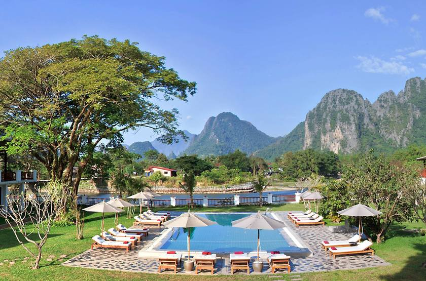 Riverside Boutique Resort Vang Vieng, Laos, piscine