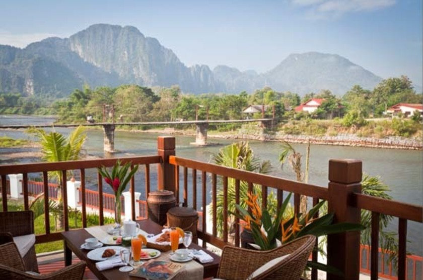 Riverside Boutique Resort Vang Vieng, Laos, terrasse