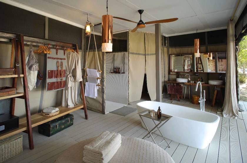 Chinzombo, South Luangwa, Zambie, salle de bains