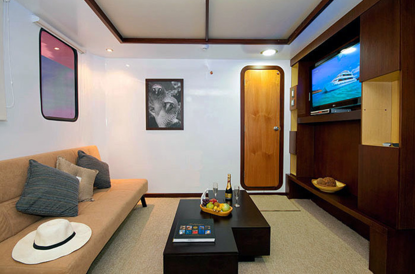Catamaran Cormorant, Galapagos, Equateur, salon cabine