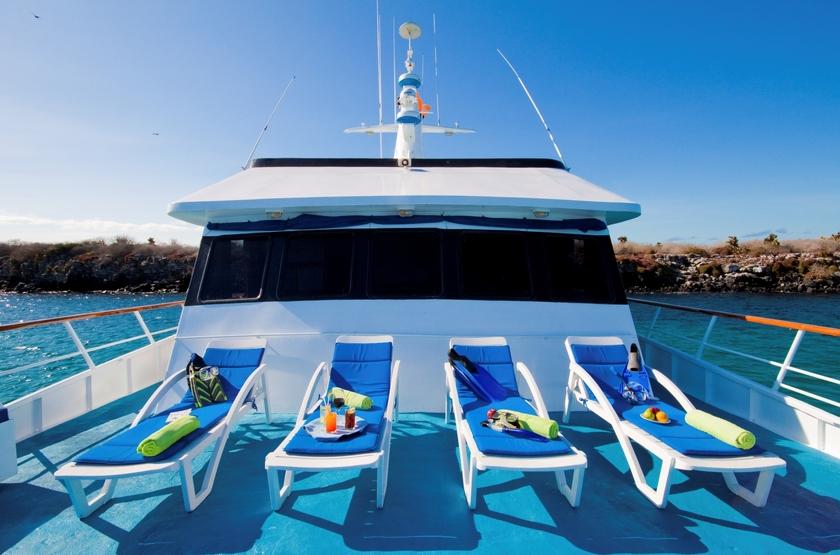 Yacht Galaven, Galapagos, Equateur, solarium