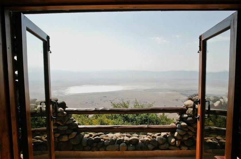 Ngorongoro Serena Safari Lodge, Tanzanie, terrasse vue cratère