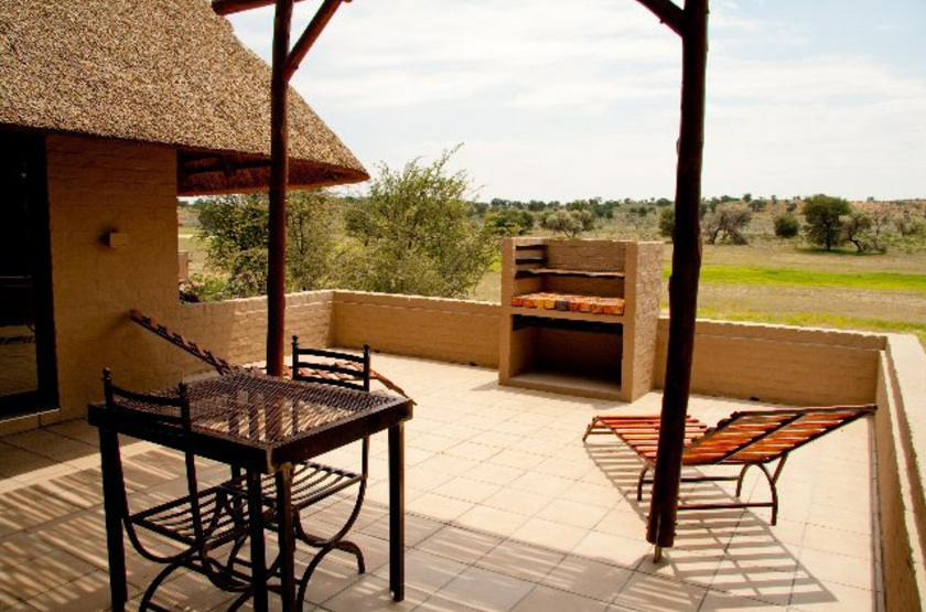 Mata Mata Rest Camp, Kgalagadi Transfrontier Park, Afrique du Sud, terrasse