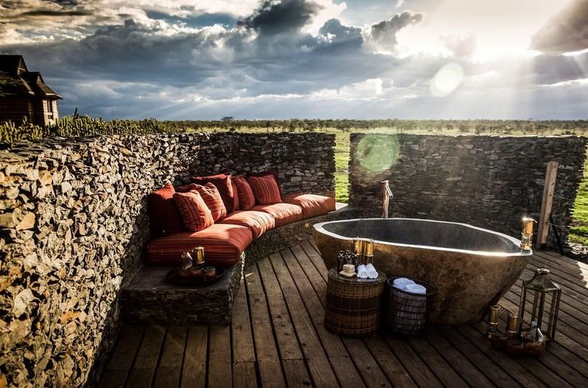 Segera Retreat, Laikipia, Kenya, salle de bains extérieur