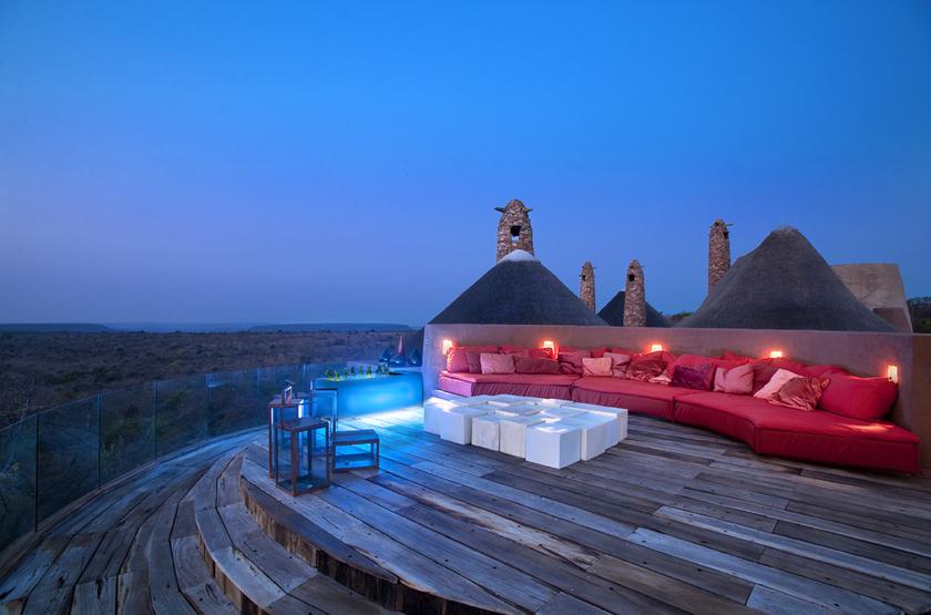 The Observatory, Leobo Private Reserve, Afrique du Sud, terrasse extérieure
