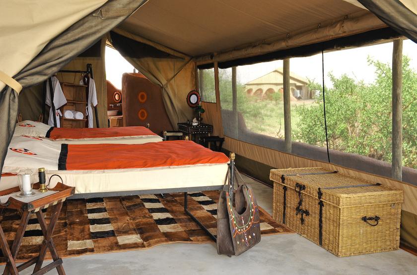 Shu'Mata, South Amboseli, Tanzanie, intérieur tente