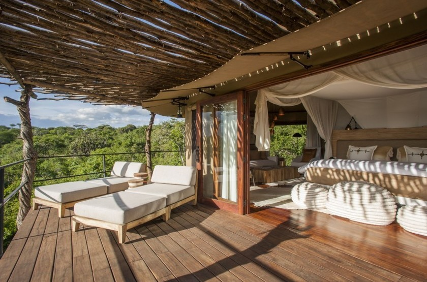 Mwiba Lodge, Réserve privée Serengeti, Tanzanie, terrasse