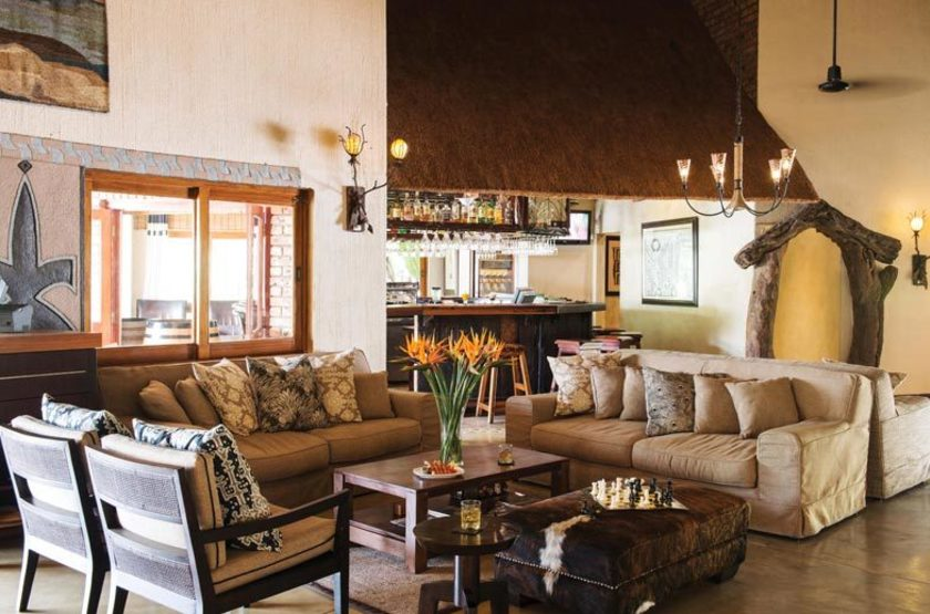 Hippo Hollow Country Estate, Hazyview, Afrique du Sud, bar-salon