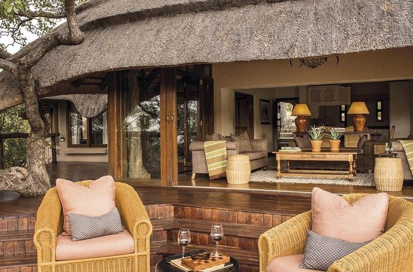 Tuningi Safari Lodge, Madikwe, Afrique du Sud, terrasse