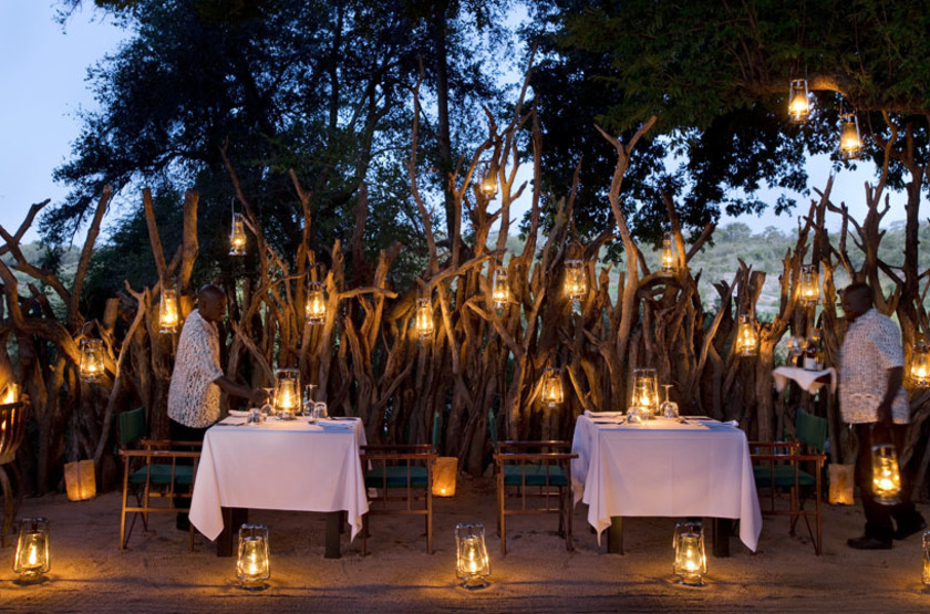 Lion Sands Ivory Lodge, Sabi Sand, Afrique du Sud, restaurant boma
