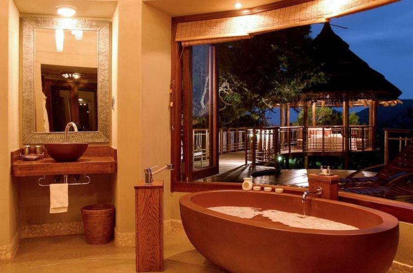 Thanda Safari Lodge, Hluhluwe, Afrique du Sud, salle de bains