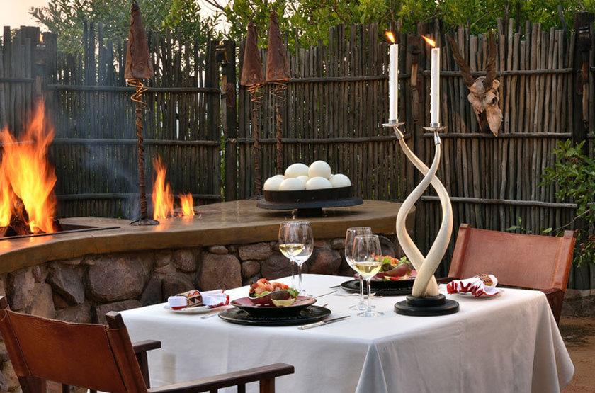 Makweti Game Lodge, Welgevonden, Afrique du Sud, dîner boma