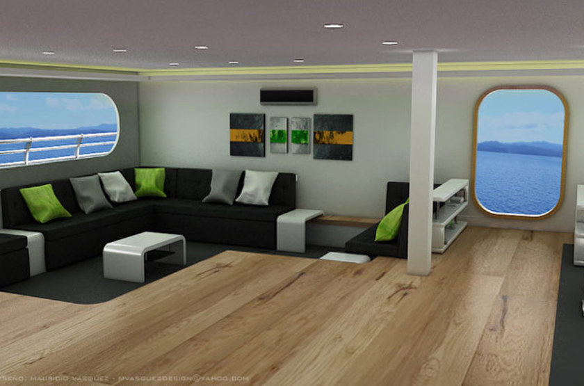 Petrel Luxury Catamaran, Galapagos, Equateur, salon