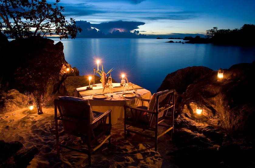Nkwichi Lodge, Lac Malawi, dîner romantique