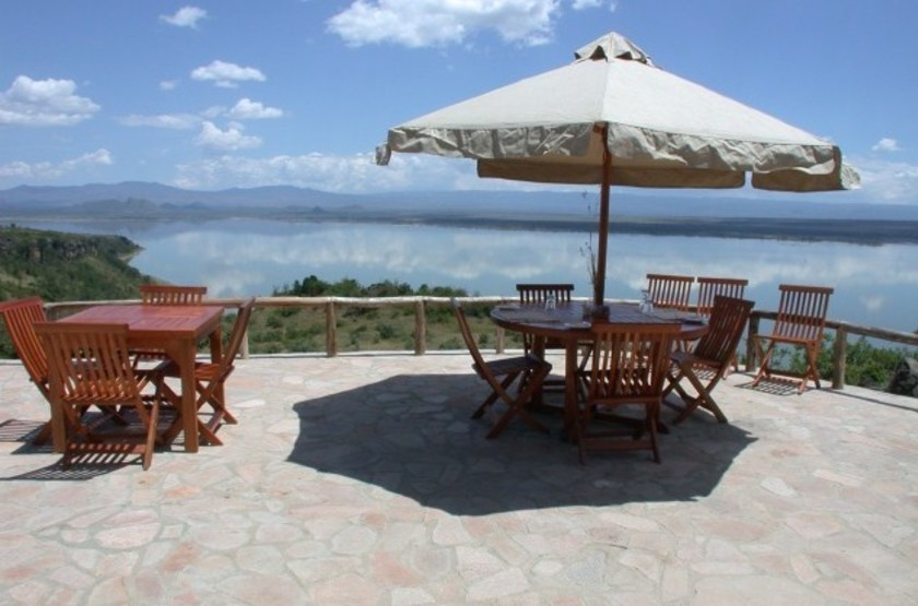 Sunbird Lodge, Lac Elementaita, Kenya, vue lac