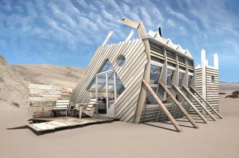 Skeleton Coast Shipwreck Lodge, Namibie, extérieur chalet