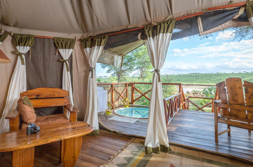 Elephant Bedroom Camp, Samburu, Kenya, terrasse tente