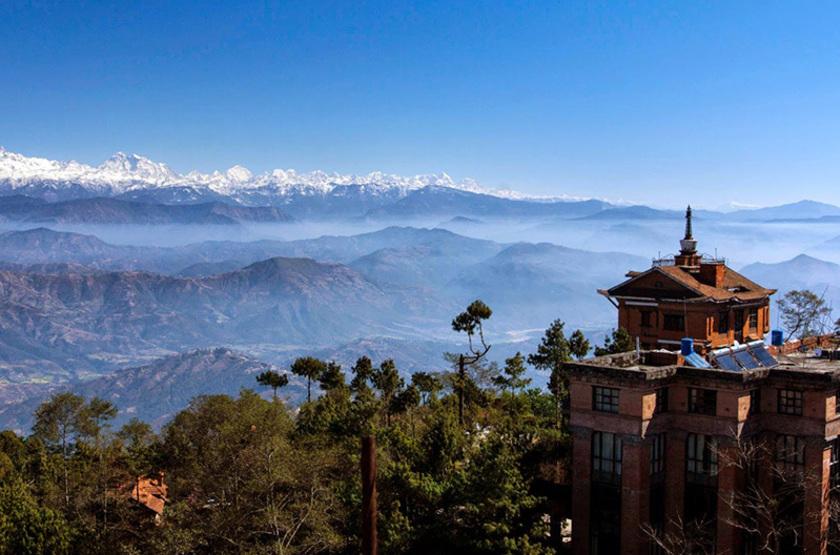 Népal - Fort Resort Nagarkot - chaîne Himalaya depuis l'hôtel