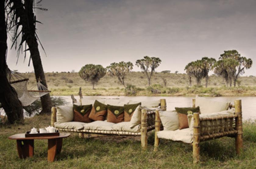 Elephant Bedroom Camp, Samburu, Kenya, terrasse extérieure